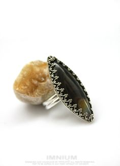 Marquise agate ring - dark brown agate in a filigree bezel setting, size US 6 1/2, elongated sterling silver ring, hand made