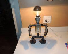 Robot di lampada tavolo tubo nero con interruttore luce