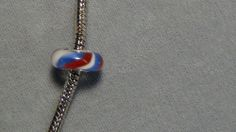 bead bracelet fourth 4th of july glass big hole blue red white silver european