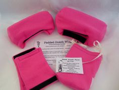 "Crutch Pads: Fuchsia Fleece Really does stop Arm Pitt by myscap       The covers fit snug over the hard rubber arm guards. Fastened with 4"" strips of velcro on hand grips and covers. The padding is made of a batting that will not crush after repeated use."