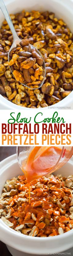 Slow Cooker Buffalo Ranch Pretzel Pieces is part of snack mix recipes 4 Ingredients - Slow Cooker Buffalo Ranch Pretzel Pieces Make a large batch of seasoned pretzel pieces in the crockpot Spicy tangy buffaloranch pretzels Slow Cooker Recipes, Crockpot Recipes, Snack Recipes, Cooking Recipes, Pretzel Recipes, Ranch Dip, Pot Luck, Ranch Pretzels, Chicken Chunks