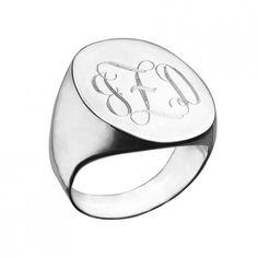 Orly Engraved Swirly Initial Oval Signet Ring - Jennifer Zeuner