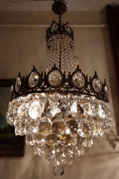 Antique Vintage French Basket Style Crystal Chandelier Lamp Light 1940's.16 in #French