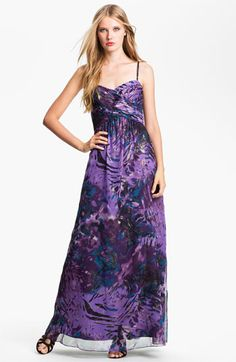 Eliza J Wrap Bodice Print Chiffon Gown available at #Nordstrom