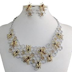 Fancy Cyber Monday Sale Bee Necklace Earring Set Crystal Topaz Brown ** Details can be found by clicking on the image. Bee Necklace, Cyber Monday Sales, Earring Set, Sunnies, Jewelry Sets, Topaz, Fancy, Crystals, Detail