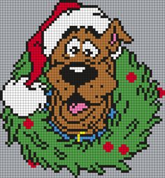 Scooby-Doo Christmas Wreath (Square Grid) by Maninthebook on Kandi Patterns Xmas Cross Stitch, Beaded Cross Stitch, Cross Stitch Charts, Cross Stitching, Cross Stitch Embroidery, Cross Stitch Patterns, Pony Bead Patterns, Kandi Patterns, Hama Beads Patterns