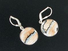 Sterling Silver & Mammoth Tooth Fossil Dangle Earrings