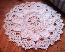 SALE Crochet rug 3D 57 in. Bed side  and Baby rug Round floor lace living room mat. Wedding gift, birthday gift, area rug