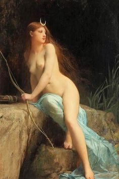 "A beautiful image of the ancient Greek goddess, Artemis painted by French artist, Jules Joseph Lefebvre. The painting is entitled by her Roman counterpart, Diane Chasseresse (""Diana Huntress"").  This wonderful work of art was completed in 1879 and is on display at the Dahesh Museum of Art in New York City."