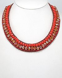 Beautiful Color: Cotton Waxed Thread Necklace Beaded With Crystal Glass and Carnelian from www.925e.com