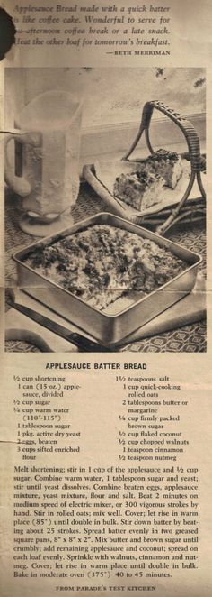 Vintage Recipe For Applesauce Batter Bread