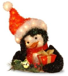 """National Tree MZTPG-18LO 18"""" Tinsel Penguin Holding Gift with 35 Clear Outdoor Lights"""