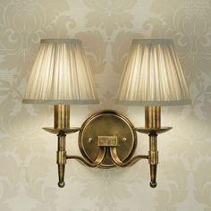 Interiors 1900 CA1W2B + 2 X CA1SHB Stanford Brass Double Wall Light, B | DC Lighting Ltd Online Lighting Superstore - Wall & Ceiling Lights, LED, Tiffany, Outdoor, Bathroom Lighting