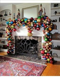 I want to make one like this From all my ornaments and not put up a tree this year...
