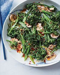 A tangy Asian dressing is a superb (and quick) way to dress up Broccolini and mushrooms.  salad