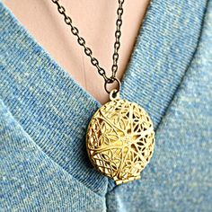 Gold-Tone Filigree Locket now featured on Fab.