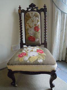 antique walnut nursing chair original needlepoint cover