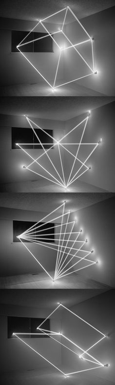Geometric Abstraction using Light Beams by James Nizam.Best neon lighting ideas, an original neon lighting ideas, wonderful neon, Neon Lighting, Lighting Design, Unique Lighting, Neon Licht, Instalation Art, Geometric Shapes, 3d Shapes, Light Beam, Light And Space