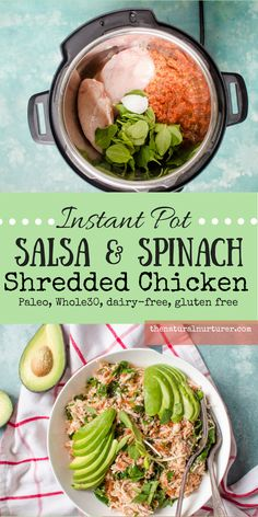 Instant Pot Salsa & Spinach Shredded Chicken {Paleo, Whole30}. Just a handful of simple, clean ingredients and a few minutes of cooking in your Instant Pot, and an amazing dinner is your's in no time...without having to break a sweat! #paleo #veggieloaded #whole30 #keto #healthyfamily
