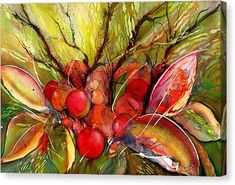 Red Autumn Berries Canvas Print by Sabina Von Arx Stretched Canvas Prints, Framed Prints, Art Prints, Vegetable Painting, Soft Autumn, Creative Colour, Beautiful Paintings, Painting Techniques, Watercolor Paintings