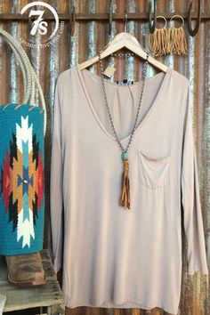 The Emmett – taupe v-neck tunic from Savannah Sevens Western Chic