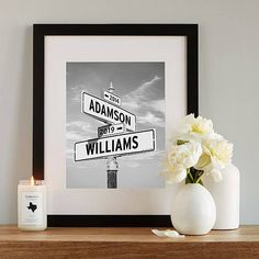 Are you looking to give the bride and groom something that isn't already on their registry? Check out these 28 bridal shower gifts that are totally one-of-a-kind! #bridalshowergifts #uniquebridalshowergifts #bridalshowergiftideas #ModernMOH Personalized Street Signs, Personalized Engagement Gifts, Personalized Gifts, Engagement Gifts For Him, Custom Gifts, 25th Anniversary Gifts, Boyfriend Anniversary Gifts, Anniversary Ideas, Paper Anniversary