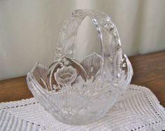 Vintage Glass Basket Leaded Crystal Large Glass Basket Brides Basket Flower Basket Crystal Easter Basket