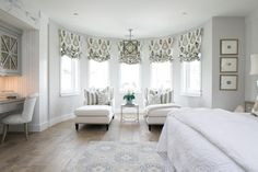 Bow Window with Chaise Lounges - Transitional - Bedroom Bedroom With Sitting Area, Bedroom Seating, Transitional Living Rooms, Home Trends, Take A Seat, Interior Design, Hgtv, Bedroom Ideas, Bedroom Decor