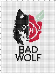 bad wolf cross stitch by NerdyPatterns on Etsy, $3.00