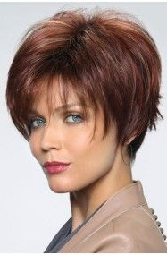 Short, fun and flippy wig with bangs in the front and a tapered neck.Length: Fringe Crown Nape Weight: oz Cap Size: Average Color Shown: Almond Rocha R, Razberry Ice-R Wig Colors… Short Hair With Layers, Short Hair Cuts For Women, Short Hairstyles For Women, Bob Hairstyles, Pixie Haircuts, Popular Hairstyles, Wedge Hairstyles, Teenage Hairstyles, Hair Styles 2016
