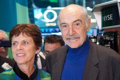 Dr. Richardson and Sir Sean Connery on the floor at the New York Stock Exchange the day after the premiere of the film 'Ever to Excel.' What a week for such a terrific university!