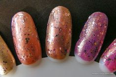 Swatches (left to right) of Spoiled Jewelry Heist over  e.l.f. Copper, Sally Hansen Firefly, Orly Ingenue
