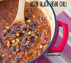 This Bison Chili with Black Beans is like no other chili you've had before! Lean, iron-rich bison is cooked slowly with dark red wine and several layers of spices, bulgur, and fiber-rich black beans to create a healthy and delicious chili! Bison Chili Recipe, Chili Recipe With Black Beans, Black Bean Chili, No Bean Chili, Bison Recipes, Chili Recipes, Soup Recipes, Cooking Recipes, Game Recipes