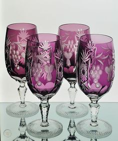 4 Ajka Marsala Amethyst Purple Cut to Clear Crystal Ice Tea Water Goblets Glass ~ Crystal Wine Glasses, Crystal Glassware, Antique Glass, Vases, Malva, Fenton Glass, Mason Jar Wine Glass, Purple Glass, Glass Art