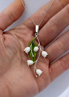 Lily of the valley pendant, silver 925 spring gift jewelry, pendant with chainlet by Jewellrylimanska on Etsy https://www.etsy.com/listing/266761952/lily-of-the-valley-pendant-silver-925