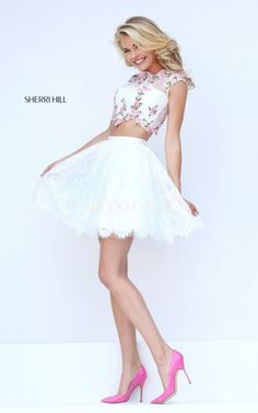 Sherri Hill 50478 Ivory 2016 Short Floral Cap Sleeve Two Piece Prom Dress