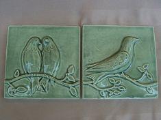 Ceramic Tiles  Birds on a Vine Relief  by FarRidgeCeramics on Etsy, $30.00