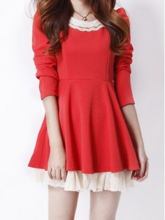 Puff Long Sleeved Lace Dress