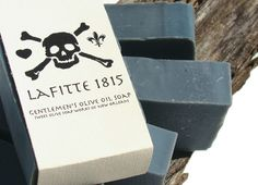 """New Orleans based soap company. """"Sweet Olive Soap Works"""" LAFITTE 1815 HA, wanna smell like a pirate! Activated Charcoal Soap, Mens Soap, Olive Oil Soap, Soap Packaging, Handmade Soaps, Cocoa Butter, New Orleans, Place Card Holders, Cards Against Humanity"""