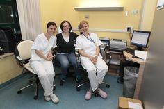 Da sinistra: Barbara, terapista respiratoria, Elisa Falcier, specializzanda in pneumologia, Elisa, terapista respiratoria