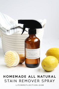 Remove even the toughest stains with this DIY natural stain remover spray. A powerful non toxic, stain-fighting spray made with just 4 simple ingredients. Deep Cleaning Tips, House Cleaning Tips, Cleaning Hacks, Spring Cleaning, Natural Stain Remover, Tablet Recipe, Homemade Toilet Cleaner, Cleaners Homemade, Diy Cleaners
