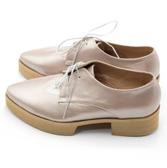9f7f25ef61e Metallic Powder Pink Leather Oxford Shoes