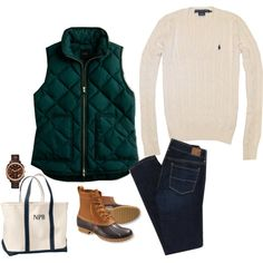 sweater + J.Crew vest + skinny jeans + bean boots ::: love the emerald vest! Preppy Fall, Preppy Style, My Style, Fall Winter Outfits, Autumn Winter Fashion, Winter Clothes, Preppy Outfits, Cute Outfits, Duck Boots Outfit