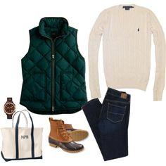 sweater + J.Crew vest + skinny jeans + bean boots