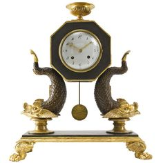Early 19th C. Viennese Empire Carved Wood Mantel Clock 1