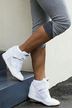 blue hour diy: Sneaker Wedges for Petite Girls - Short and Curvy Nike Wedge Sneakers, Nike Wedges, Shoes Sneakers, Shoes Heels, Nike Heels, Roshe Shoes, Sneaker Heels, Wedged Sneakers, Wedge Tennis Shoes