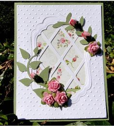 lattice and roses plus beautiful embossing Making Greeting Cards, Greeting Cards Handmade, Card Making Designs, Birthday Cards For Women, Flower Cards, Paper Flowers, Embossed Cards, Stamping Up Cards, Pretty Cards