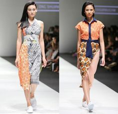Ong Shunmugam 2016 Resort Cruise Pre-Spring Womens Runway Catwalk Looks - Singapore Fashion Week Designer Priscilla Shunmugam - Chinese Malaysian Indonesian Korean South Korean Asian Seigaiha Lotus Sakura Blouse Obi Sash Waist Skirt Frock Wrap Robe Kimono Print Graphic Motif Pattern Sleeveless Onesie Jumpsuit Coveralls Panel Half Skirt
