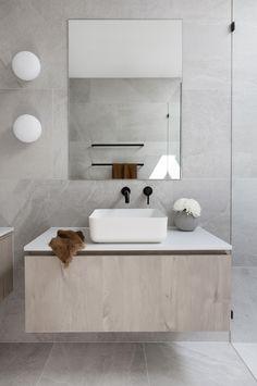 Grey Bathroom Tiles, Grey Tiles, Grey Bathrooms, Bathroom Colors, Bathroom Renos, Small Bathroom, Bathroom Tiles Combination, Bathroom Tapware, Luxury Bathrooms