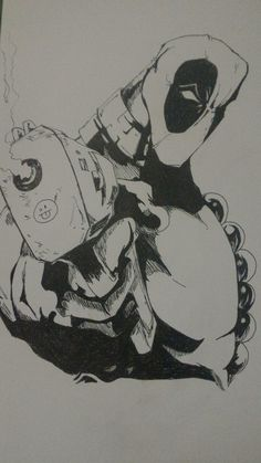 Finalizado. #Deadpool2 #Chimichangas #QualÉOMeuNome #Francis #WadeWilson #Marvel #FOX #RyanReinolds #Drawing #Nanquim